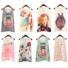 8 Styles Womens Girls Chiffon Shirt Cami Tank Tee Vest Cami Tops Blouse S-XL