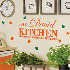Personalised Family Name Kitchen Heart Wall Stickers Quotes Wall Decals Wall Art