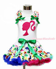 Hot Pink Ponytail Girl White Pettitop Shirt Rainbow Clover Pettiskirt Set 1-8Y