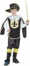 Musketeer Black Children's Fancy Dress Costume Ages 4-11 Available