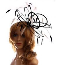 Black & White Wedding Feather Fascinator Hat  Choose any colour Satin & Feather