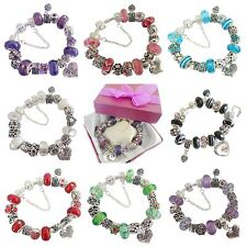PERSONALISED LADIES/WOMENS SPARKLING CHARM BRACELET BEAD GIFT BOXED BIRTHDAY
