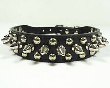 Black Leather Collar Rivet Spiked Studded Pet Dog Collar XS S M L Small Medium