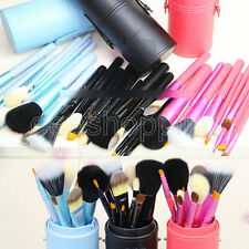 12PCS Makeup Brush Cosmetic Tool Set Kit with Leather Cylinder Cup Holder Case 6