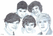 ONE DIRECTION LE art drawing prints available 2 sizes A4/A3 & greetings Card