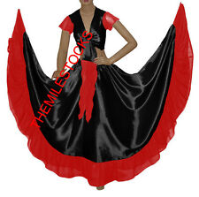 TMS BLACK/RED Designer Ruffle Skirt + Top Set Belly Dance Costume Gypsy Flamenco