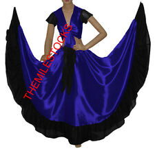 TMS R BLUE/BLACK Designer Ruffle Skirt + Top Belly Dance Costume Gypsy Flamenco