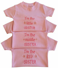 I'm The Little Middle Big Sister Girl Baby Pink Clothes T Tee Shirt Funny Gift