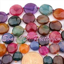 12,14,16,18,20mm Coin Faceted Cracked Muticolor Aagte Gemstone Beads Strand 15""