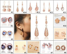 Charming Womens 9K Rose Gold Filled / GF with AAA CZ Dangle Earrings Studs C32