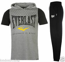 Everlast Mens Grey Hoody Hooded T-Shirt Top & Black Sweat Pants Sizes S - XXL