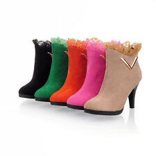 Fashion Sexy Ladies Vogue Velvet  Women Lace High Heel Ankle Boots Shoes