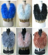 Free shipping/Real ostrich feather rabbit fur tassels vest/waistcoat 8 colour