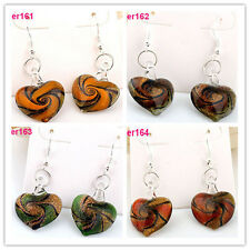 New Fashion Vortex Elegant Murano Lampwork Art Glass Heart Beaded dangle Earring