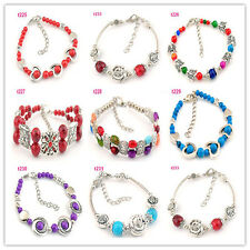 Free shipping 1pc Handmade Stylish Tibetan silver beaded Design charm bracelet