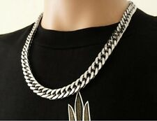 8''-32' Stainless steel 10mm Curb Link Necklace Bracelet Fashion Men's Jewelry