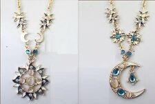 N635 Betsey Johnson Night Guardian Gem Dangling Earth Moon Sun Necklace US