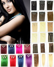 """20""""10PCS Full Head Clip in Remy Human Hair Extensions 160g Multi Colors 22 Clips"""