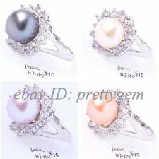 WHITE&PURPLE&WHITE&10MM FRESHWATER PEARL&WHITE GOLD SILVER PLATED RING US #7- #9