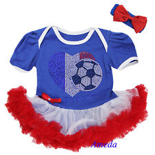 Baby Blue White Red World Cup France Flag Heart Football Romper Tutu Party Dress