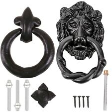 QUALITY BLACK ANTIQUE DOOR KNOCKER SETS ~LION HEAD OR RING HANDLE~ Ornate/Gothic