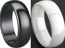 8MM Men White Black Ceramic Ring Band Plain Wedding Size 7 8 9 10 11 12 13 14 15