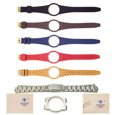 New Mens Watch Strap Band For OMEGA DYNAMIC Leather Replacement Gold Buckle S15