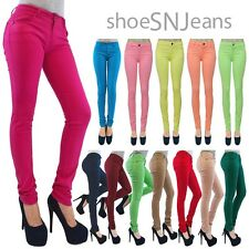 New Women BASIC COTTON SLIM PANTS Colorful Jeggings Denim Jeans Pencil Skinny