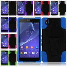 For Sony Xperia Z2 Z1S Durable Hybrid T-stand Cover Case Accessory