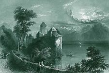 Castle At Moonlight~counted cross stitch pattern #117~Landscapes Castles Chart