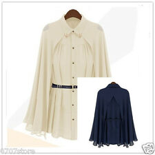 Womens Elegant Style Cape Style Design Single-breasted Blouse Apricot Chiffon