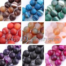 """10MM FROST ROUND AGATE LOOSE JEWELRY GEMSTONE BEADS STRAND 15"""",SELECT BY COLOR"""