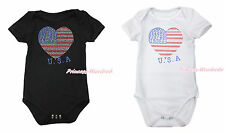 4th July Rhinestone USA Flag Heart Baby White Black Jumpsuit Romper NB-12Month