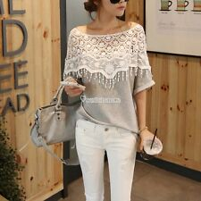 Fashion New Women Sexy Lace Shoulder Short Sleeve Loose Top Blouse T-shirt W3LE