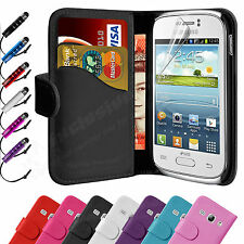 Flip Wallet Leather Case Cover For Samsung Galaxy Fame S6810 & Screen Protector
