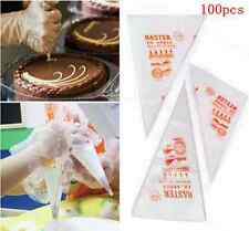 100PCS Disposable Piping bag Pastry Icing Nozzle Fondant Cake Decorating LS87