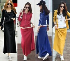 Spring Autumn Womens Sweats Hoodie Maxi Long Swing Dress Set Causal Sports Comfy