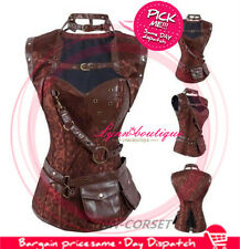 Brown Pattern Steampunk  Faux Leather Boned Corset Overbust Bustier&Belt Basque