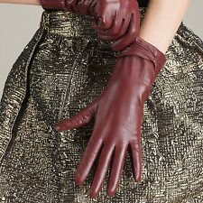 Women Lady's Winter Genuine lambskin soft Leather Warm Gloves 8 Color to choose