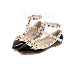 Women's Pointed Toe Buckle Sandals Metal Rivet Studded Comfy Flats Single Shoes