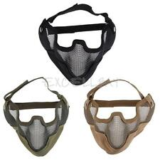 Tactical Airsoft Paintball Steel Mesh Half Face Protect Mask with Ear Cover E0Xc