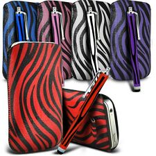 PU Leather Zebra Pull tab Pouch Case & Stylus Pen For Various WIKO Mobile Phones