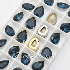 2/6/24pcs Swarovski 4320 Teardrop Montana 18x13mm Pear Crystal Sew On Rhinestone