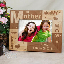 Personalized Mothers Day Picture Frame Mom Mommy Mama Engraved Wood Photo Frame