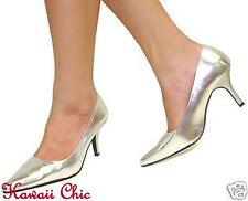 """New! Silver Metallic Pointy Toe Classy 3 1/4"""" High Heels Pumps Women's Shoes"""