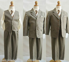Khaki/taupe/ivory  toddler teen boy formal suit ring bearer wedding prom party