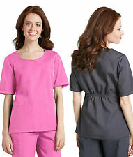 Womens Princess Curved Crossover Medical Nursing Scrub Top Uniform NWT 15 COLORS