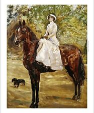 """MAX SLEVOGT """"Woman in White Riding a horse"""" CONFIDENCE sidesaddle CANVAS PRINT"""