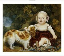 AMILA GUILLOT-SAGUEZ Child With Spaniel PRINT ON CANVAS various SIZES, BRAND NEW