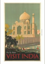 Visit India - The Taj Mahal tourism poster CANVAS choose SIZE, from 55cm up, NEW